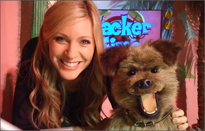 Me with CBBC's in-house mutt, Hacker T Dog